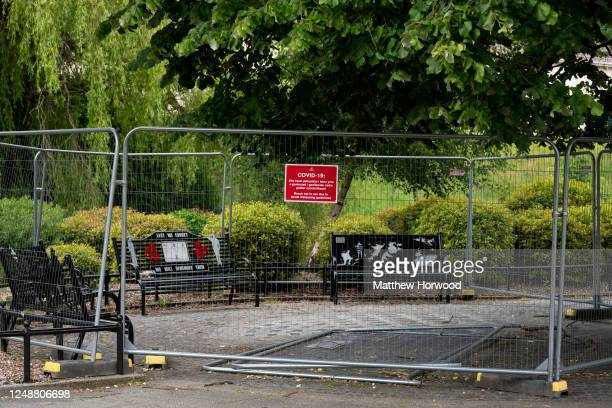 Benches in Aberdare town centre are fenced off to prevent the spread of COVID-19 on June 10, 2020 in Aberdare, United Kingdom. The Welsh government...