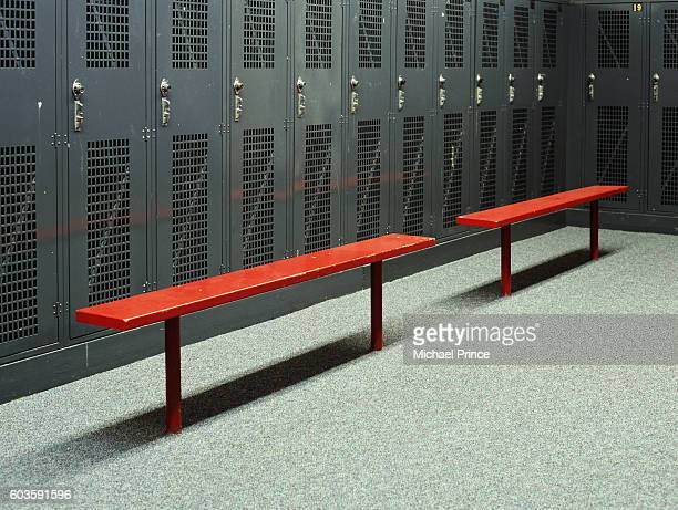 benches in empty locker room - dressing room stock pictures, royalty-free photos & images