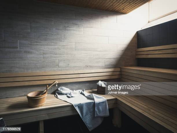 benches in sauna - sweden stock pictures, royalty-free photos & images