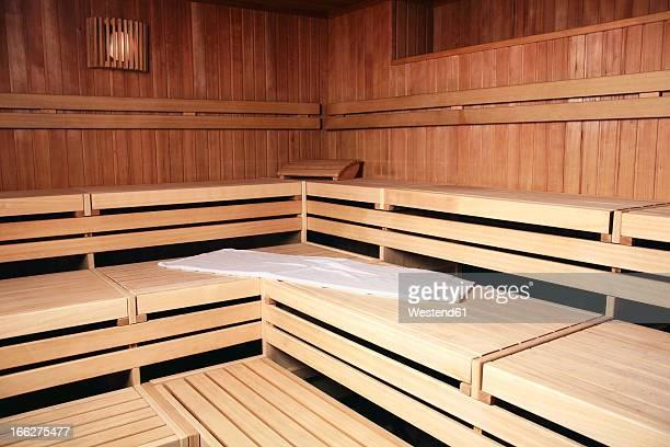 Benches in wooden sauna