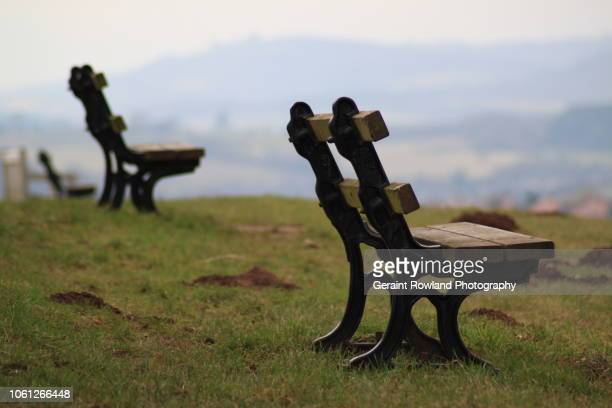 benches on a hill, wales - newport wales stock pictures, royalty-free photos & images