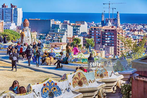 Benches on terrace of Parc Guell, Barcelona