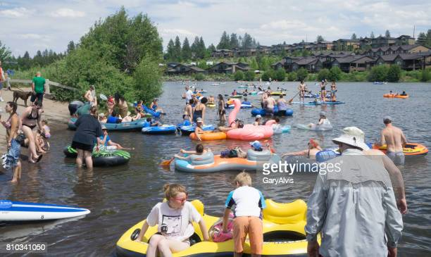 bend, oregon, usa, 4th of july white water park 2017 - bend oregon stock photos and pictures
