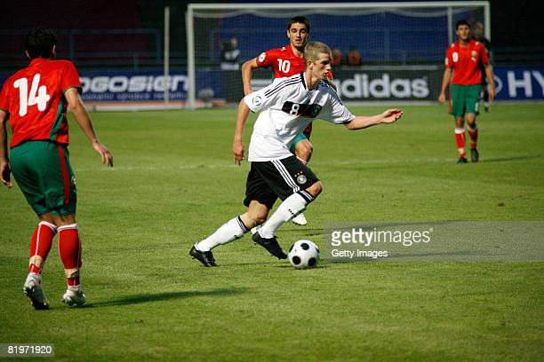 Bender Lars of Germany controls the ball during the UEFA European U 19 Championship match between Germany and Bulgaria at the Struncovy Sady Stadium...