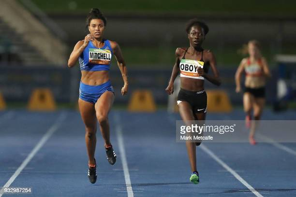 Bendere Oboya of NSW and Morgan Mitchell of VIC compete in the Women's 400m during the 2018 Sydney Athletics Grand Prix at Sydney olympic Park...