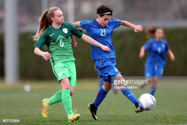 Bendetta Maroni of Italy U16 women in action against Sara Adam of Slovenia U16 women during the U16 Women friendly match between Italy U16 and...