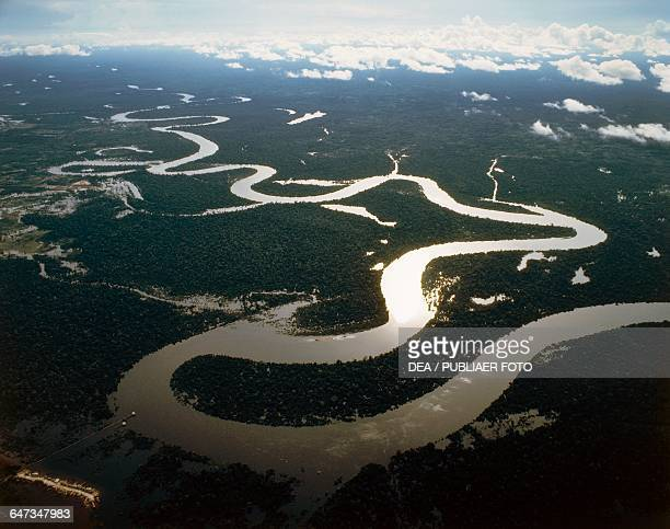 Bends in the Amazon River aerial view Peru