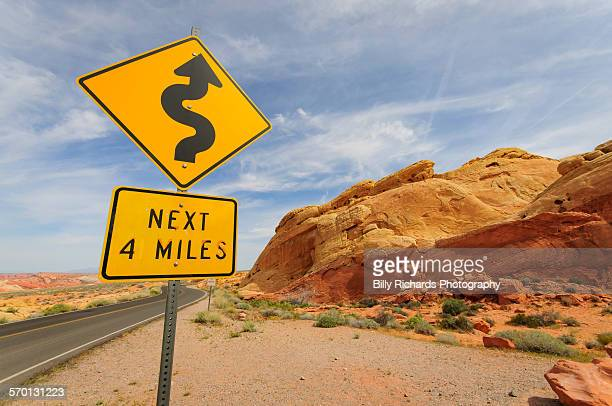 bendy road ahead - valley of fire state park stock photos and pictures