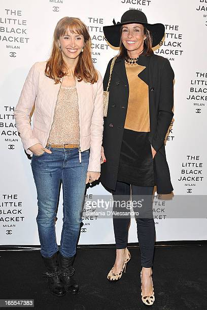 Benedetta and Cristina Parodi attend Chanel The Little Black Jacket - Karl Lagerfeld Photography Exhibition Dinner Party on April 4, 2013 in Milan,...