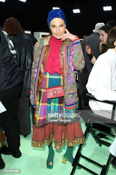 Benedetta Barzini is seen backstage at the Gucci Backstage during Milan Fashion Week Fall/Winter 2020/21 on February 19 2020 in Milan Italy