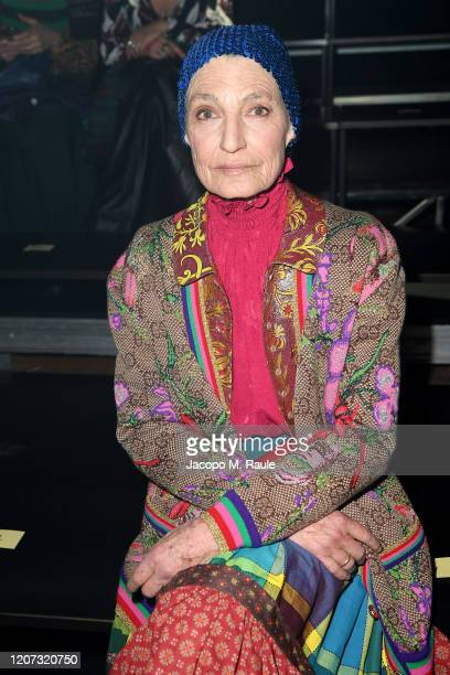 Benedetta Barzini is seen on Gucci Front Row during Milan Fashion Week Fall/Winter 2020/21 on February 19, 2020 in Milan, Italy.