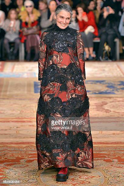 Benedetta Barzini walks the runway at the Antonio Marras show during the Milan Fashion Week Autumn/Winter 2015 on February 28 2015 in Milan Italy