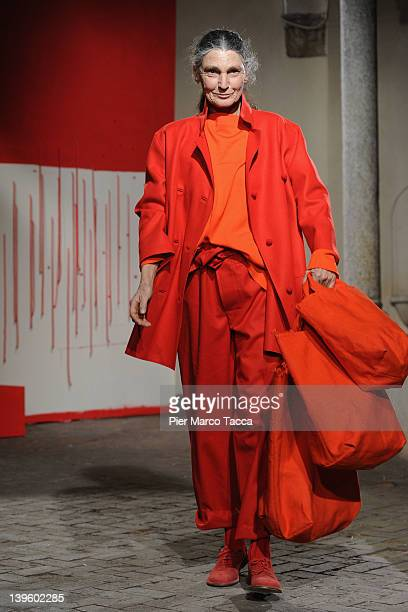 Benedetta Barzini walks the runway at the Daniela Gregis Autumn/Winter 2012/2013 fashion show as part of Milan Womenswear Fashion Week on February 23...