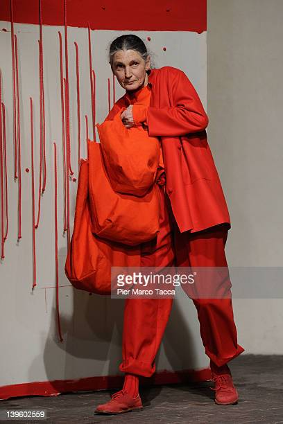 Benedetta Barzini walks the runway at the Daniela Gregis Autumn/Winter 2012/2013 fashion show as part of Milan Womenswear Fashion Week on February 23...