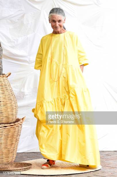 Benedetta Barzini walks the runway at the Daniela Gregis fashion show during the Milan Women's Fashion Week on September 24 2020 in Milan Italy
