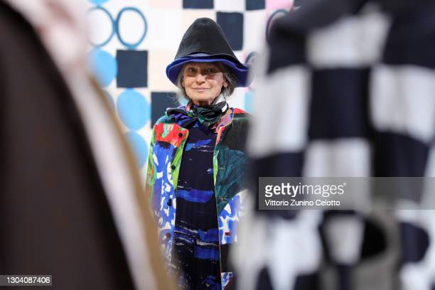 Benedetta Barzini walks the runway at the Daniela Gregis Fashion Show during the Milan Fashion Week Fall/Winter 2021/2022 on February 25, 2021 in...