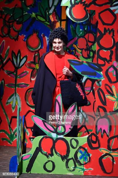 Benedetta Barzini walks the runway at the Daniela Gregis show during Milan Fashion Week Fall/Winter 2018/19 on February 22 2018 in Milan Italy