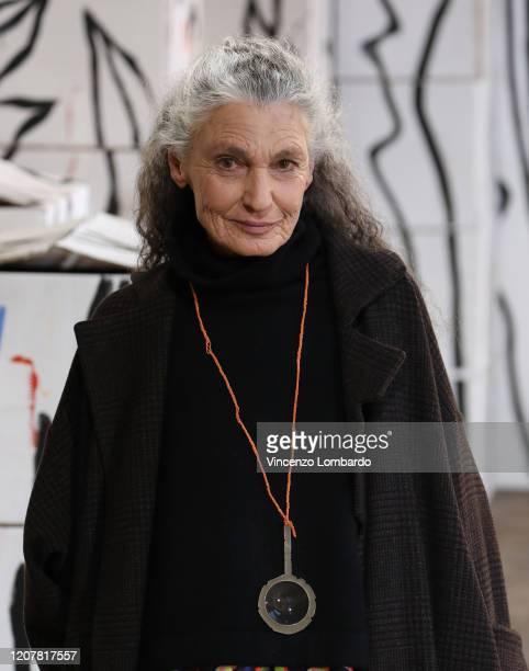 Benedetta Barzini walks the runway during the Daniela Gregis fashion show as part of Milan Fashion Week Fall/Winter 2020-2021 on February 20, 2020 in...