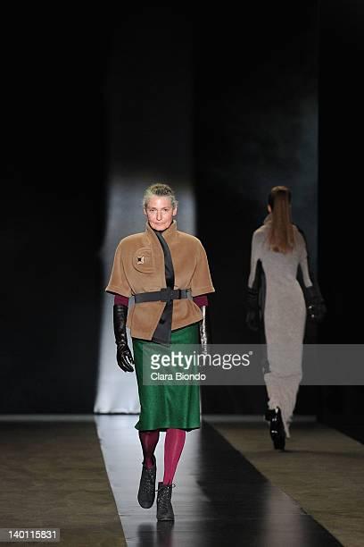 Benedetta Barzini walks the runway during the Sergei Grinko fashion show as part of Milan Womenswear Fashion Week Autumn/Winter 2012/2013 on February...