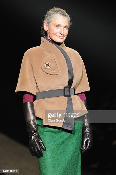 Benedetta Barzini walks the runway during the Sergei Grinko fashion show as part of Milan Womenswear Fashion Week Autumn/Winter 2012/2013 on February...