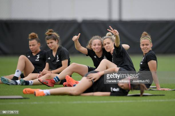 Benedetta Glionna and Federica Russo during the Juventus Women training session on May 23 2018 in Turin Italy