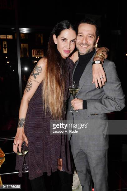 Benedetta Mazzini and Dj Boosta attend Cartier Legendary Thrill Cocktail Party on April 16 2018 in Milan Italy