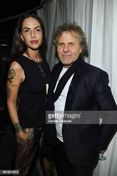 Benedetta Mazzini and Franco Rosso attend the Dsquared2 during the Milan Menswear Fashion Week Fall Winter 2015/2016 on January 16 2015 in Milan Italy