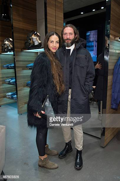 Benedetta Mazzini and Michele Pasini attends Dsquared2 St Moritz New Store Opening Cocktail Reception on February 8 2014 in St Moritz Switzerland