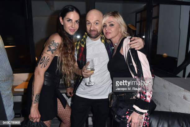 Benedetta Mazzini and Paola Barale attend Diesel Living event during the Milan Design Week on April 18 2018 in Milan Italy