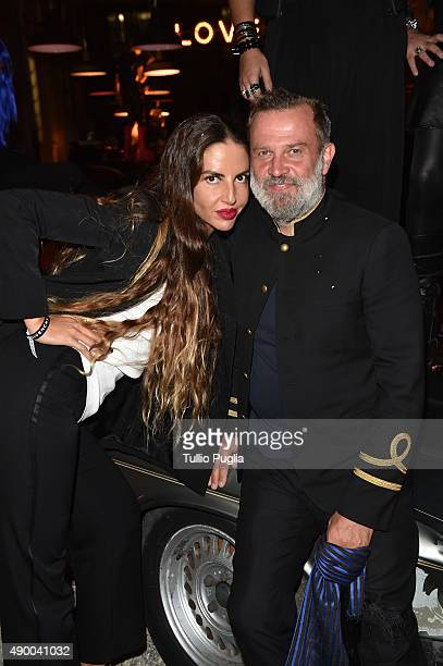 Benedetta Mazzini and Robert Rabensteiner attend the Givenchy #GRTmilano17 party during the Milan Fashion Week Spring/Summer 2016 on September 25...