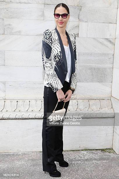 Benedetta Mazzini attends the Roberto Cavalli fashion show as part of Milan Fashion Week Womenswear Fall/Winter 2013/14 on February 23 2013 in Milan...