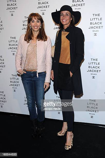 Benedetta Parodi and Cristina Parodi attend Chanel The Little Black Jacket - Karl Lagerfeld Photography Exhibition Dinner Party on April 4, 2013 in...
