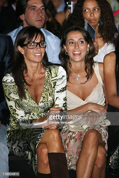 Benedetta Parodi and guest during Milan Fashion Week Spring/Summer 2006 - Roberto Cavalli - Front Row and Backstage in Milan, Italy.