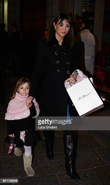 Benedetta Parodi and son are seen on February 26, 2009 in Milan, Italy.