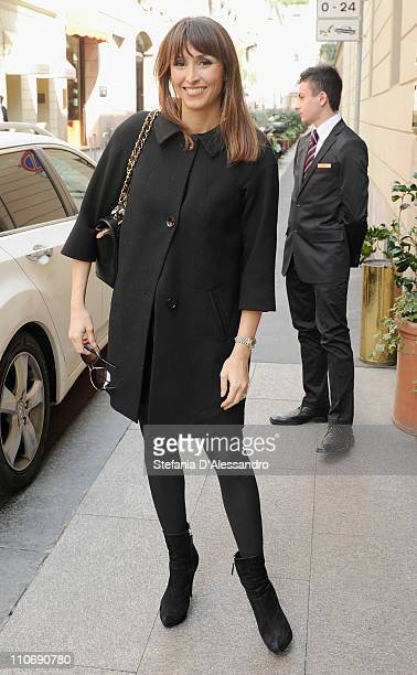 "Benedetta Parodi arrives at Hotel Four season to attend the ""Premio E' Giornalismo 2010"" Cocktail on March 23, 2011 in Milan, Italy."