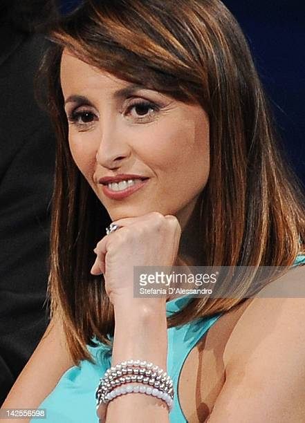 "Benedetta Parodi attends ""Che Tempo Che Fa"" Italian TV Show on April 7, 2012 in Milan, Italy."