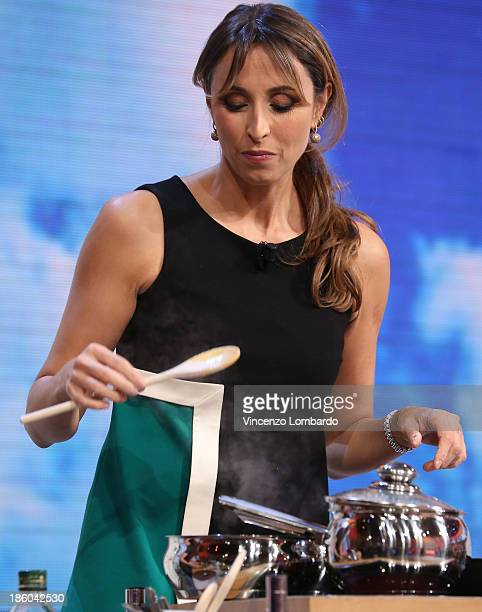 Benedetta Parodi performs during 'Quelli Che Il Calcio' Italian TV Show on October 27, 2013 in Milan, Italy.