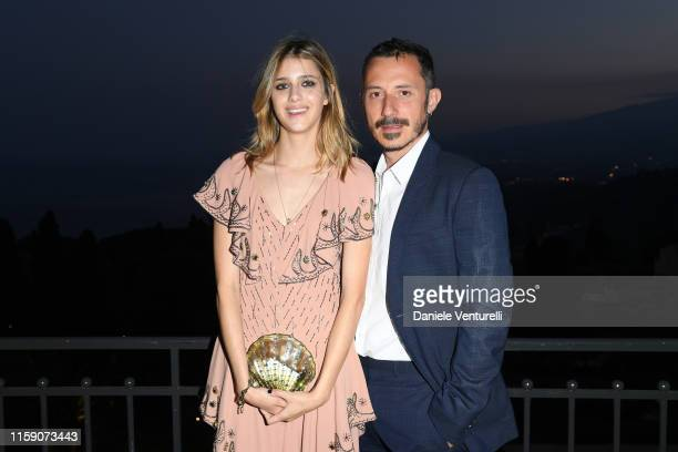 Benedetta Porcaroli and Michele Alaique attend the Nastri D'Argento cocktail party in Taormina on June 29, 2019 in Taormina, Italy.