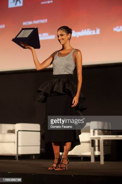 Benedetta Porcaroli receives the Nuovo IMAIE Award for Revelation Actress for the film 18 Presents at the Bari Film Festival on August 28 2020 in...