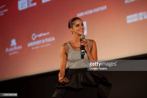 Benedetta Porcaroli speaks onstage before receiving the Nuovo IMAIE Award for Revelation Actress for the film 18 Presents at the Bari Film Festival...