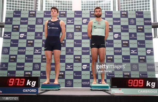Benedict Aldous of Oxford University Boat Club and Dara Alizadeh of Cambridge University Boat Club weigh in during The Boat Race Crew Announcement...