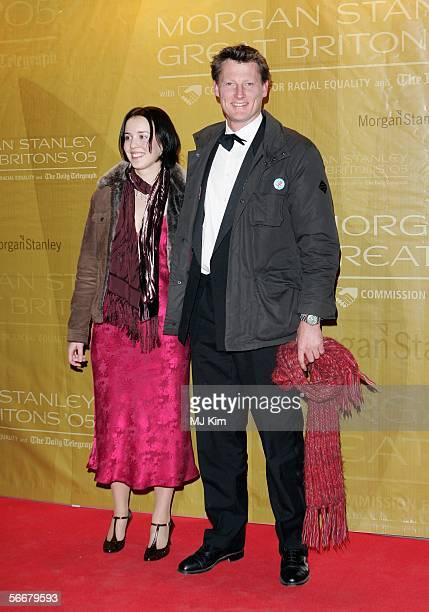 Benedict Allen and guest arrive at the Morgan Stanley Great Britons '05 awards ceremony at the Guildhall on January 26 2006 in London England The...