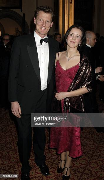 Benedict Allen and guest attend the reception following the Morgan Stanley Great Britons '05 awards ceremony at the Guildhall on January 26 2006 in...