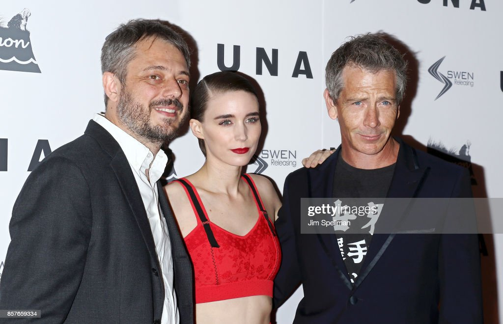 Benedict Andrews, actors Ben Mendelsohn and Rooney Mara attend the 'UNA' New York VIP screening at Landmark Sunshine Cinema on October 4, 2017 in New York City.