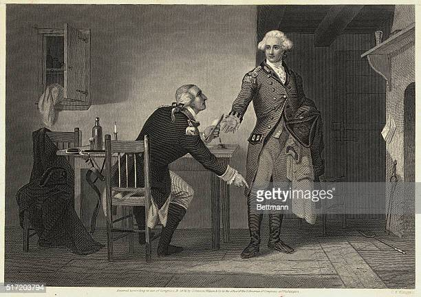 Benedict Arnold persuades Andre to conceal papers in his boot