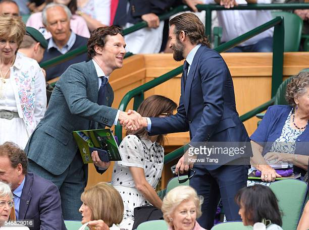 Benedict Cumberbatch and Bradley Cooper attend the Men's Final of the Wimbledon Tennis Championships between Milos Raonic and Andy Murray at...
