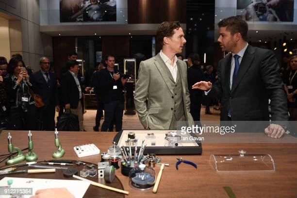 Benedict Cumberbatch and Geoffroy Lefebvre attend during JaegerLeCoultre Polaris at the SIHH 2018 at Pavillon Sicli on January 15 2018 in Les Acacias...