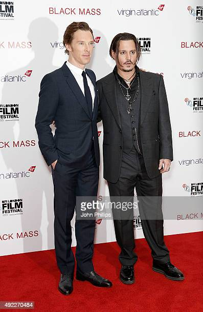 Benedict Cumberbatch and Johnny Depp attend the Black Mass Virgin Atlantic Gala screening during the BFI London Film Festival at Odeon Leicester...