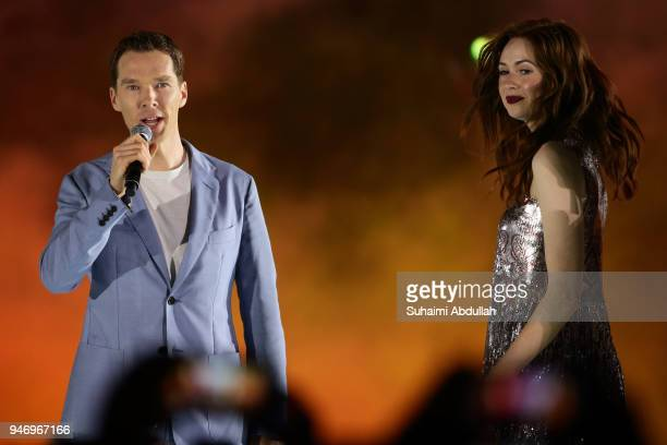 Benedict Cumberbatch and Karen Gillan attend the Marvel Studios Avengers Infinity War Red Carpet Fan Event at Marina Bay Sands Event Plaza on April...