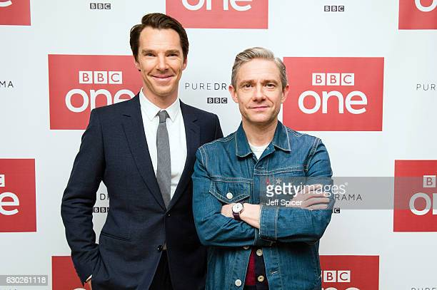 Benedict Cumberbatch and Martin Freeman attend a screening of the Sherlock 2016 Christmas Special at Ham Yard Hotel on December 19, 2016 in London,...